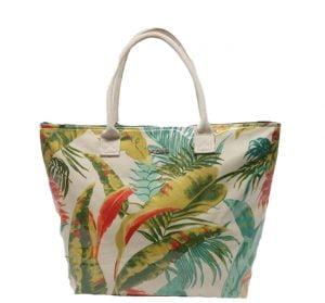 Bolsa de playa plastificada hojas