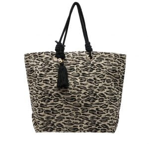 Bolsa de playa animal print negra
