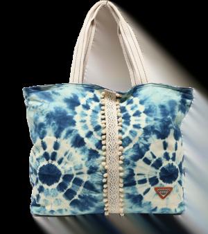 Bolsa de playa estampada manchas con franja ganchillo Privata azul