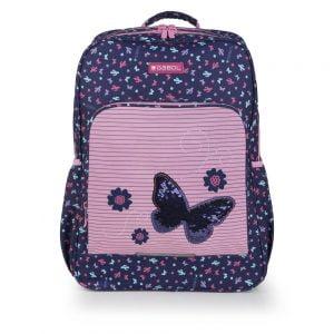 Mochila escolar estampada dos departamentos butterfly Gabol multicolor azul