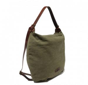 Bolso mochila de lona y piel Cuirot´s kaki