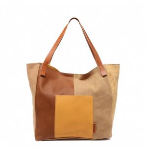 Bolso shopping grande de piel y lona Cuirot´s multicolor cuero