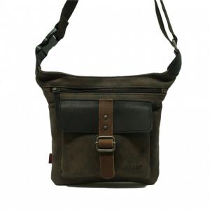 Riñonera plana cuadrada bolsillo solapa sintético y piel Stamp marrón