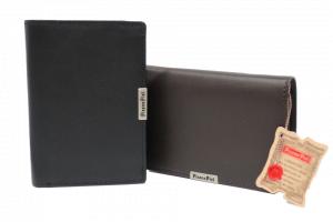 Cartera con portamonedas de piel lisa con protección RFID