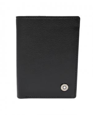 Cartera billetero tarjetero de piel lisa con protección RFID negro