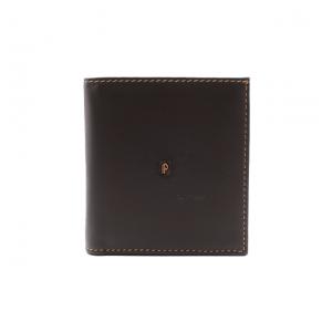 330_PE cartera billetero tarjetero monedero cuadrada pequeña piel lisa Pielnoble marrón frontal
